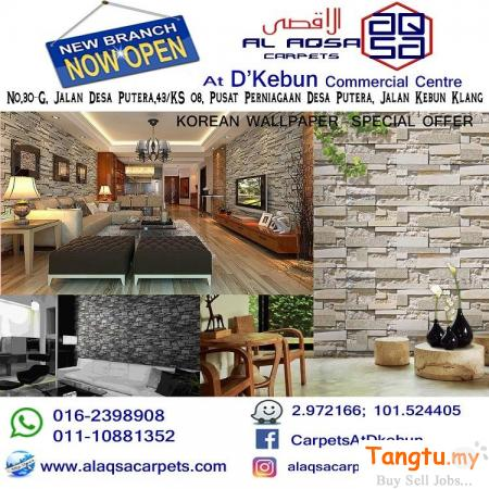 KOREAN WALLPAPER  SPECIAL OFFER FROM  RM 250/ROLL – 3D DESIGNS!! PRICES LIKE NEVER BEFORE Klang Selangor | Tangtu.my