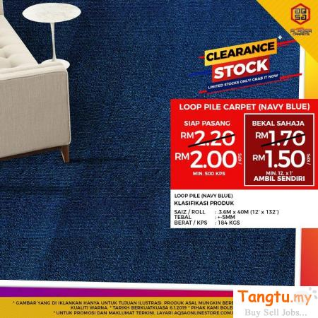 INNOVATIVE LOOP PILE CARPET (NEVY BLUE) ON SALE Klang Selangor | Tangtu.my